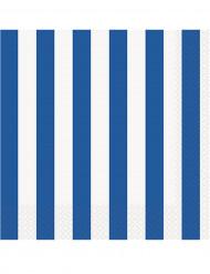 16 Tovaglioli di carta a righe blu e bianche 33 x 33 cm