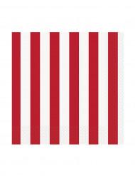 16 tovagliolini di carta strisce rosse e bianche lato 25 cm