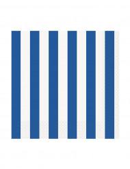 16 tovagliolini a righe blu e bianche
