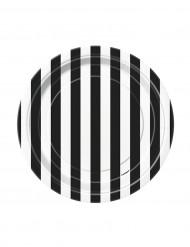 8 Piattini di carta da 18 cm a righe bianche e nere