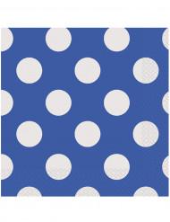 16 Tovaglioli in carta color Blu a pois bianchi 33 x 33cm