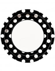 8 piatti di cartone neri a pois bianchi di 22 cm