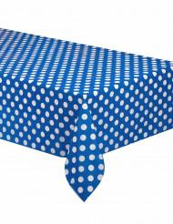 Tovaglia di plastica blu a pois bianchi 137x274cm