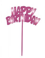 Decorazione per torte Happy Birthday rosa