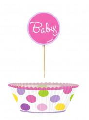 24 pirottini per cupcakes e stecchini di decorazione con la scritta Baby