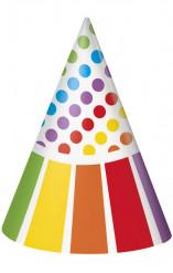 8 cappelli per festa di compleanno a righe