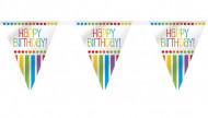 Festone di compleanno con gagliardetti a righe 3,65m