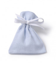 6 sacchetti in cotone azzurro cielo di 10 x 7,5 cm