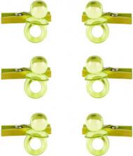 6 mini mollette con ciucciotti verde anice