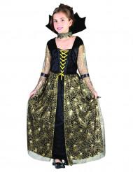 Costume da strega ragno nero e oro per bambina