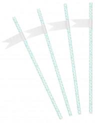 Confezione da 24 cannucce color menta personalizzabili