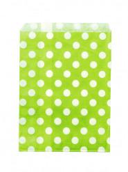 24 sacchetti di carta verde anice a pois bianchi