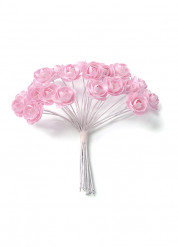 24 piccole rose di carta con gambo