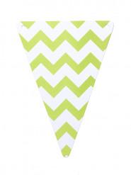 5 gagliardetti di carta con motivo zig zag verde