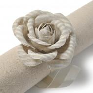 2 rose striate di lino + nastro ferma tovagliolo