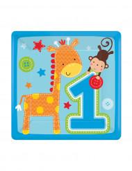 Confezione piattini di carta quadrati blu Primo compleanno
