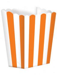 5 contenitori bianchi e arancioni per popcorn