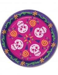Confezione 8 piatti dia de los muertos