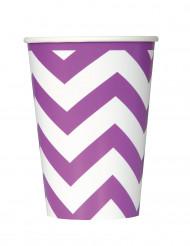 6 bicchieri in carta a zig zag viola da 340 ml