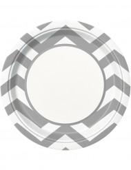 8 piatti di carta a zig zag argentati