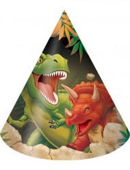Pacco da 8 cappellini dei Dinosauri