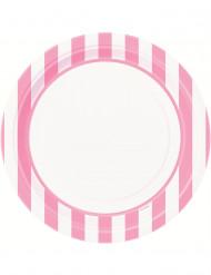 8 Piatti di carta bianchi con righe rosa 22 cm