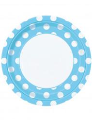 8 piatti celesti a pois bianchi in cartone 22 cm