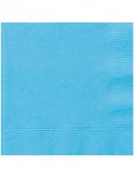 20 piccoli tovaglioli di carta color azzurro pastello 16,5 x 16,5 centimetri