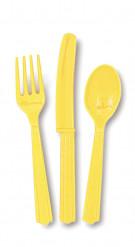 18 posate di plastica giallo tenue