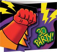 8 biglietti d'invito per festa di compleanno con supereroi