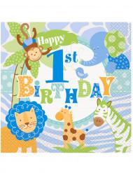 20 Tovaglioli di carta Giungla 1 anno bambino