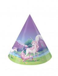8 Cappellini di carta Magico Unicorno
