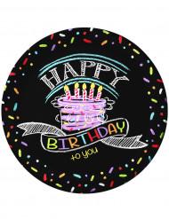 8 piattini di carta decorati con scritta Happy Birthday