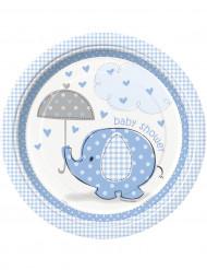 8 Piatti di carta Elefante Blu 23 cm