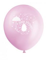 8 palloncini decorati con un elefantino rosa