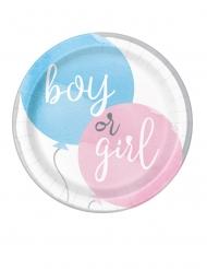 10 piattini quadrati Girl or Boy 18 cm