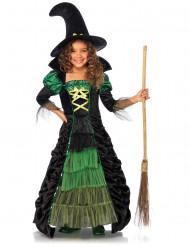Costume strega lungo nero e verde bambina