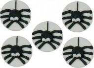 5 mini dischi bianchi di zucchero ragno nero per Halloween