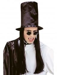 Maxi cilindro con capelli neri da adulto per Halloween