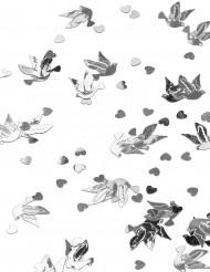 Coriandoli da tavola colombe e cuori argento