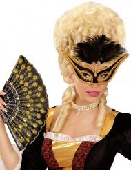 Maschera da dama barocca con piume  per Carnevale