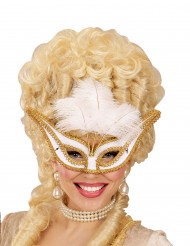 Maschera con piume bianche in stile arocco