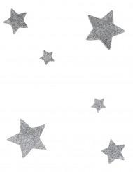 6 decorazioni da tavola stella con paillettes argentate