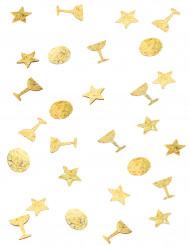 Trio di coriandoli color oro per la tavola
