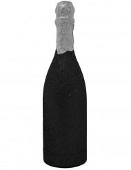 Bottiglia di coriandoli argento e nera glitterata