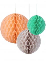 3 palle da appendere di carta color pesca menta e grigio