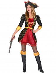 Costume nero e rosso pirata donna