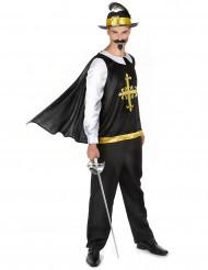 Costume moschettiere bianco e nero per uomo