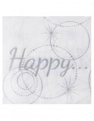 20 tovaglioli di carta Happy di colore bianco