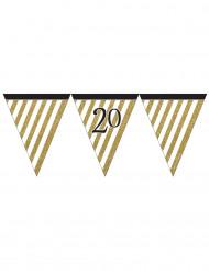 Festone con bandierine a righe bianche e oro per i 20 anni di 3,7 m
